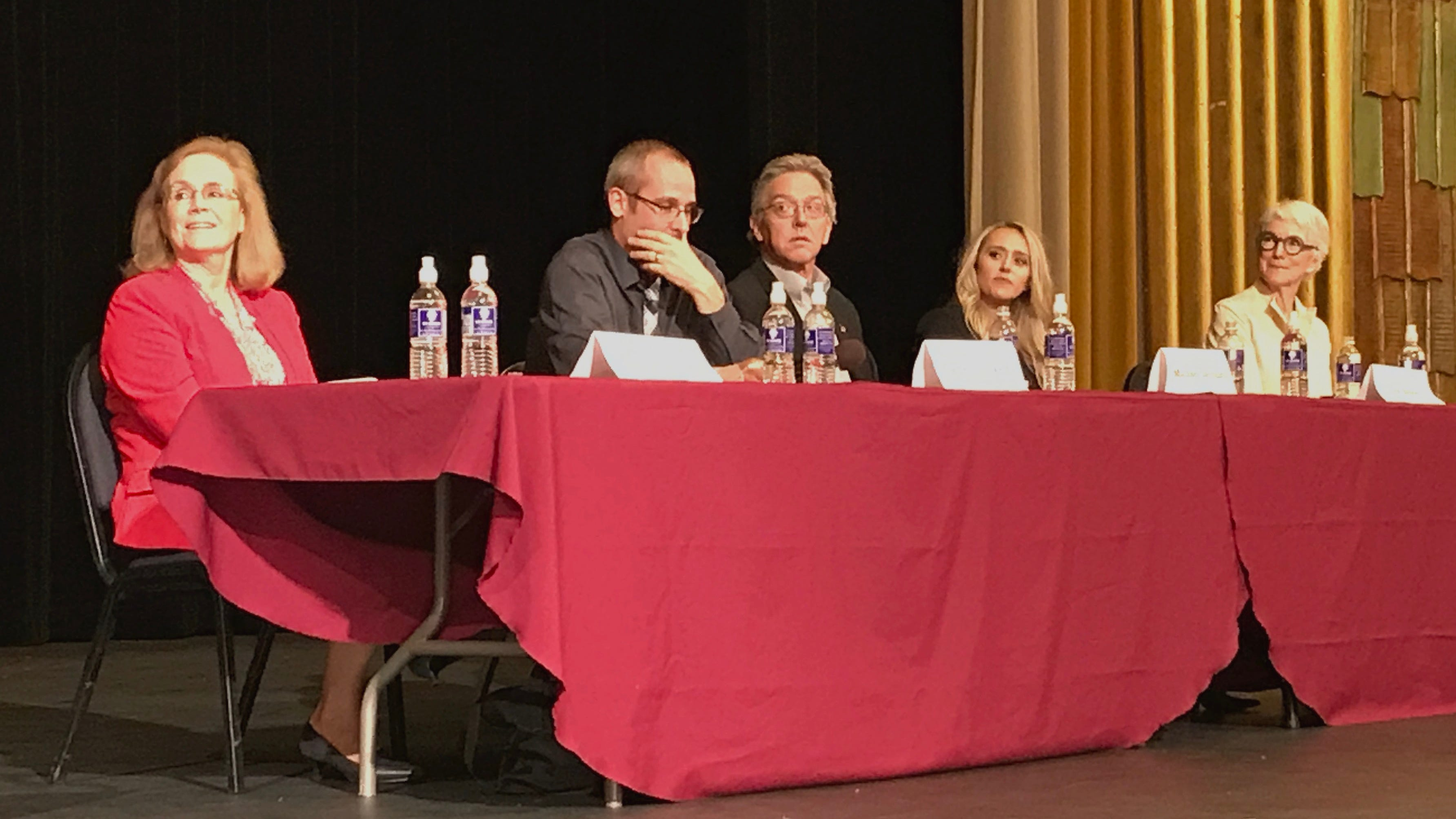 Redding City Council candidates, from left, Kristen Schreder, James Crockett, Michael Dacquisto, Erin Resner and Francie Sullivan appear Wednesday evening at a League of Women Voters forum inside the Cascade Theatre.
