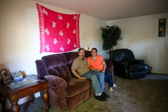 Matthew Boyd and Cassandra DeBeck are pictured in their Keizer home on Wednesday, Sept. 26, 2018. The couple moved into their home after being homeless off and on for three years.