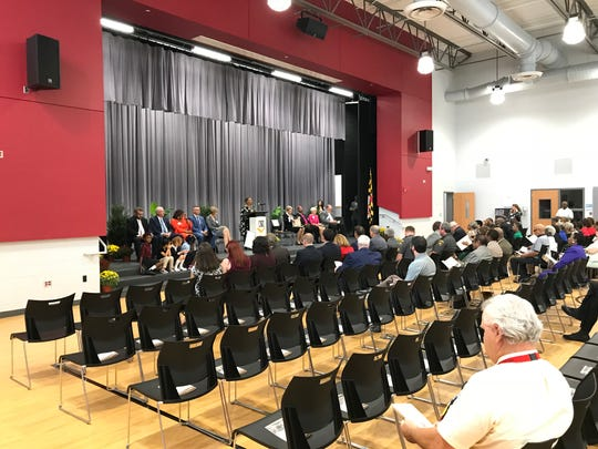 A crowd of community members and officials gathered in West Salisbury Elementary's auditorium for a rededication ceremony on Sept. 27, 2018.