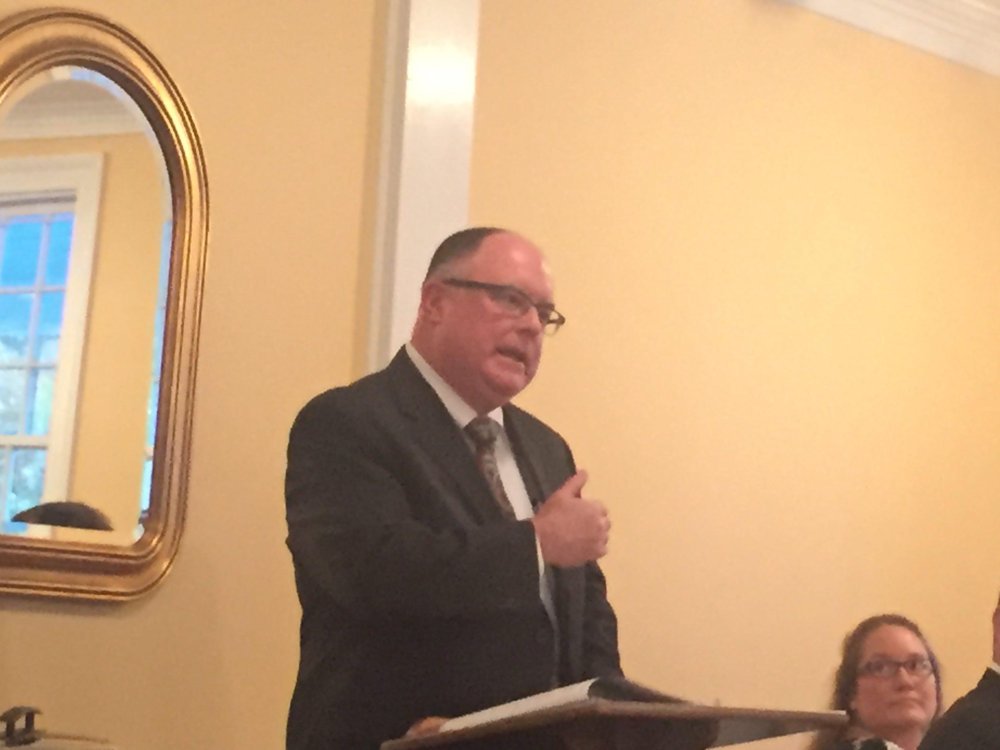 Leonard C. Heath Jr., President of the Virginia State Bar, addresses the Eastern Shore Bar Association on Wednesday, Sept. 26, 2018 in Eastville, Virginia.