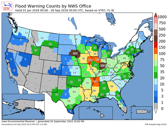 Flood warnings issued by National Weather Service offices so far in 2018.