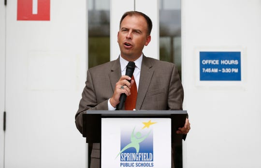 Springfield Public Schools Superintendent John Jungmann speaks at a ribbon cutting for the new Campbell Early Childhood Center on Thursday, Sept. 26, 2018.