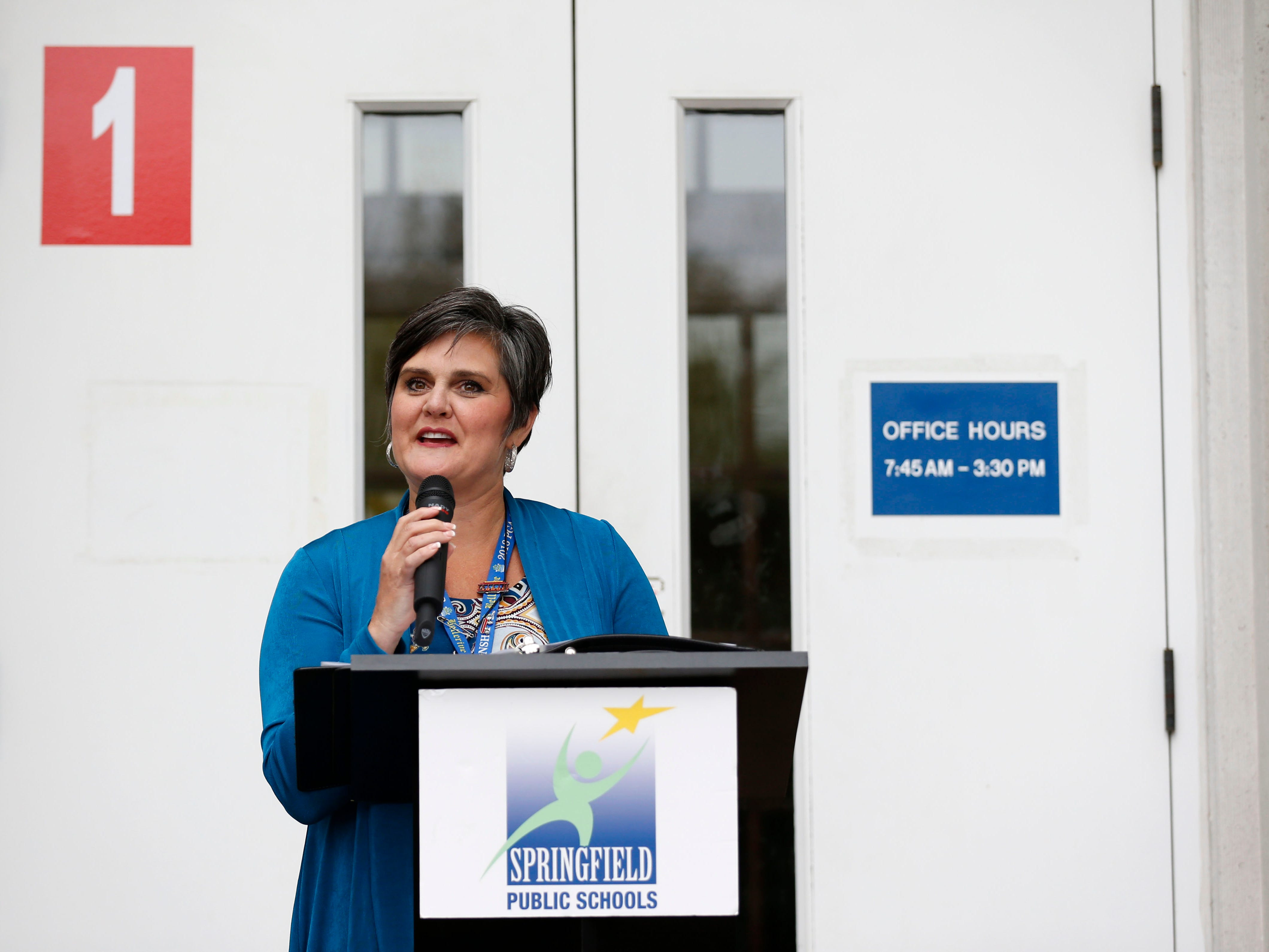 Missy Riley, Director of Early Childhood at Springfield Public Schools, speaks at a ribbon cutting for the new Campbell Early Childhood Center on Thursday, Sept. 26, 2018.