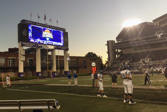 The scoreboard end of James Madison's Bridgeforth Stadium during the 2017 Shenandoah Football Classic.