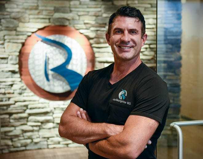 """Dr. Joel Baumgartner has been filming four episodes of his upcoming NBC pilot """"HEALTHOVATE with Dr. B.""""television show. He is shown Wednesday, Sept. 26, at Rejuv Medical in Waite Park."""