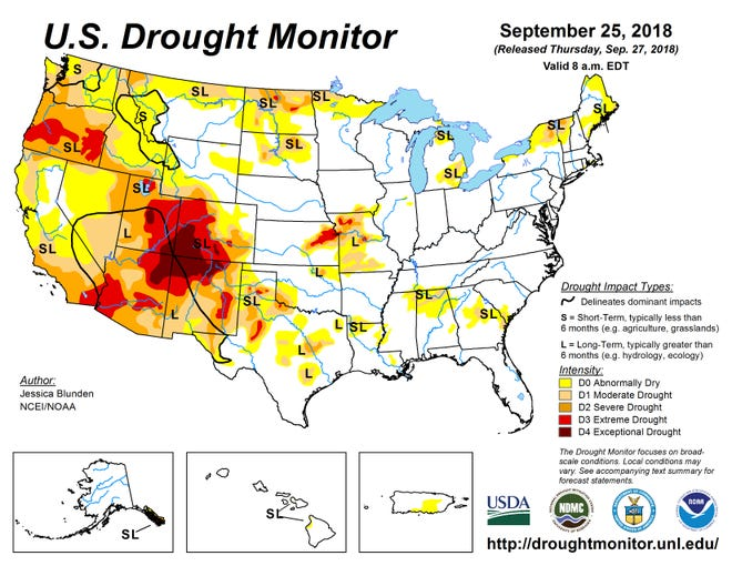 The latest U.S. Drought Monitor map shows drought conditions worsening in the Southwest, especially around the four-corners area where Utah, Colorado, Arizona and New Mexico meet.