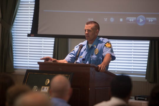 Richard Farnsworth, who will begin his reign as St. George Police chief Friday, speaks at the retirement ceremony for Chief Marlon Stratton, who served on the SGPD for 34 years.