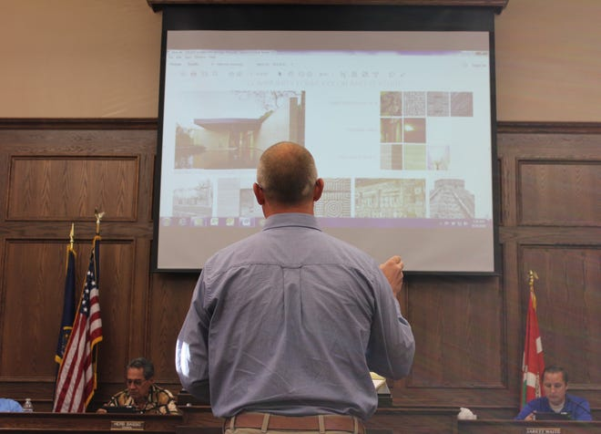 Drake Howell of Cole West Development shares the details of the Solace subdivision project with the Santa Clara City Council on Sept. 26, 2018.