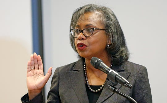 Anita Hill speaks at the University of Utah Wednesday, Sept. 26, 2018, in Salt Lake City. Hill has been back in the spotlight since Christine Blasey Ford accused Supreme Court nominee Brett Kavanaugh of sexually assaulting her when the two were in high school. Hill's 1991 testimony against Clarence Thomas riveted the nation. Thomas was confirmed anyway, but the hearing ushered in a new awareness of sexual harassment. (AP Photo/Rick Bowmer)