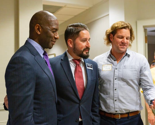 Tallahassee Mayor Andrew Gillum, mayoral candidate Dustin Daniels and Ned Pope of Nielsen at fundraiser for Daniels' Progress Tallahassee PAC.