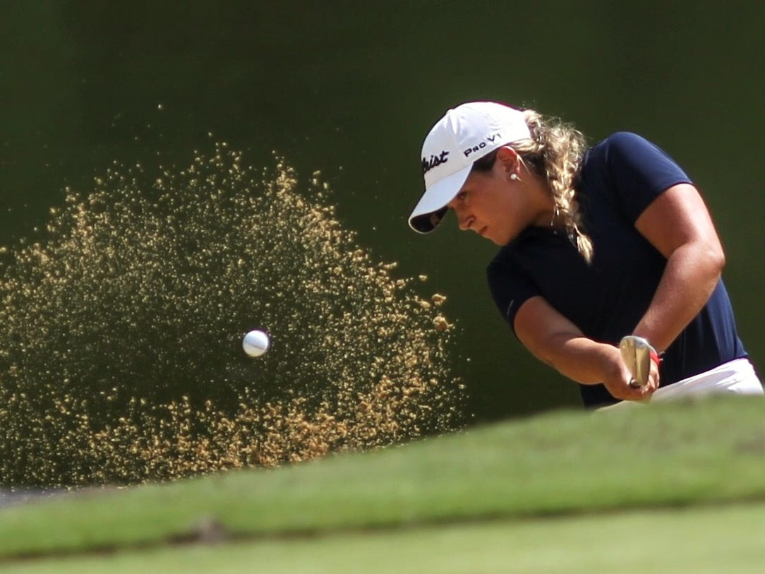 Aucilla Christian senior Megan Schofill hits out of a bunker at the boys golf Big Bend Championship at Southwood Golf Club on Wednesday, Sept. 26, 2018. Schofill shot 75 to finish in the top 10.