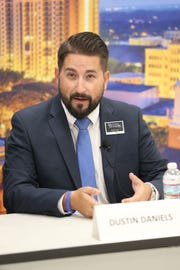 At the Tallahassee mayoral candidate debate, candidate Dustin Daniels speaks to the Tallahassee Democrat editorial board.