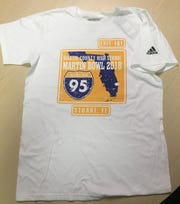 Martin County is staging a whiteout at Martin Bowl 35. The 2018 Martin Bowl shirt includes the exit number off Interstate 95 to reach either school.