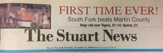 After nine consecutive losses to Maritn County from 1984-92, South Fork got its first Martin Bowl win in 1993 and a front-page banner headline to go with it.