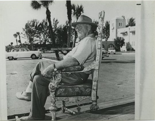 Waldo Sexton at the intersection of Beachland Blvd. and Ocean Drive, otherwise known as Sexton Plaza. The plaza was named in his honor in 1958.