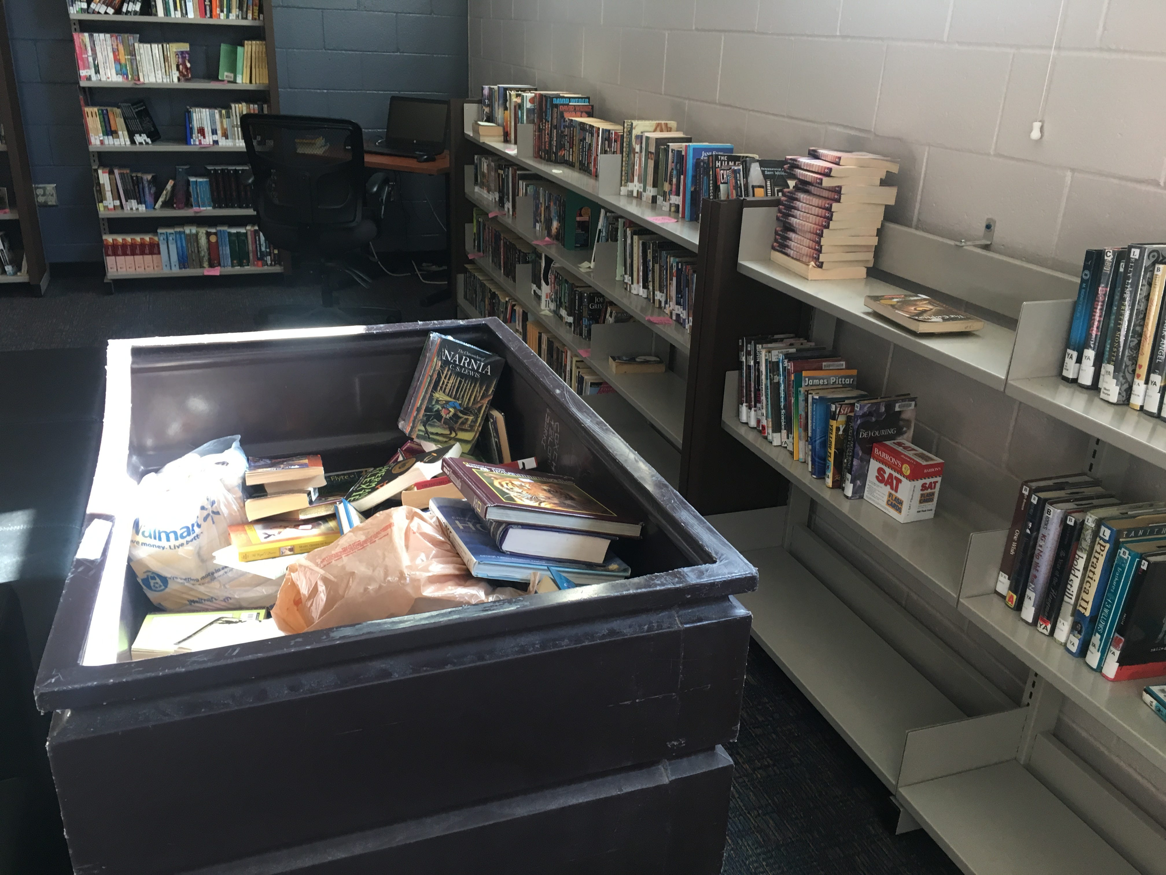 Donated books fill shelves of the library at the Ventura County Juvenile Hall facility in El Rio.