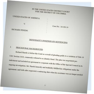 This from a document Richard Pinedo's lawyer filed in court.