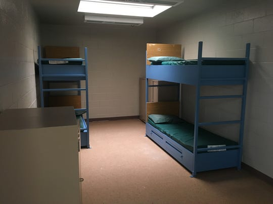 Bunk beds line the walls of a room inside the Ventura County juvenile hall near Oxnard.
