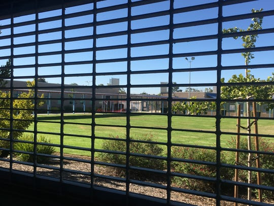 A grassy area in the center of the Ventura County juvenile hall facility near Oxnard.