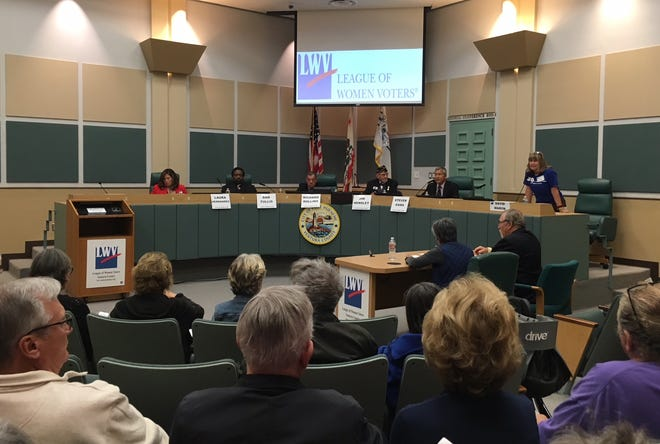 The five running for a spot on the Port Hueneme City Council took part in a candidates forum on Tuesday night hosted by the League of Women Voters.