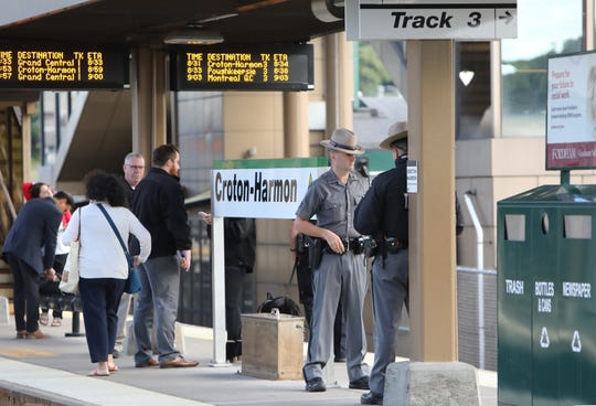 Police at the Croton-Harmon train station on Thursday, Sept. 27, 2018.