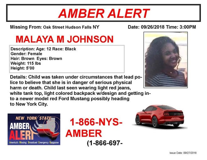 She was lastseen wearing light red jeans, a white tank top and a light-colored backpack with a design on it andgetting into a red Ford Mustang.