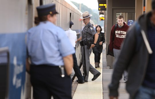 Police at the Croton-Harmon train station during a drill Thursday, Sept. 27, 2018. The drill, aimed at improving coordination of agencies responsible for train security, includes MTA Police, New York State Division of Homeland Security personnel and the New York State Police.