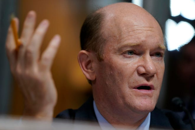 Sen. Chris Coons, D-Del., questions Supreme Court nominee Brett Kavanaugh as he testifies before the Senate Judiciary Committee on Capitol Hill in Washington, Thursday, Sept. 27, 2018. (AP Photo/Andrew Harnik, Pool)