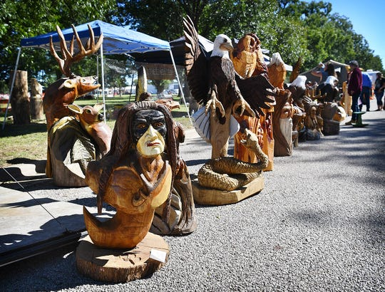 Native American themes and wildlife are some of the most popular subjects for chainsaw carving and it is all for sale at the Souther State Chainsaw Carving Redezvous in Graham this weekend. the event is open to the public.