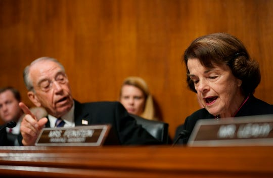 Senate Judiciary Committee chairman Chuck Grassley of Iowa, interrupts to Sen. Dianne Feinstein, D-Calif., the ranking member before Christine Blasey Ford testifies to the Senate Judiciary Committee hearing on the nomination of Brett Kavanaugh to be an associate justice of the Supreme Court of the United States, on Capitol Hill in Washington, DC.