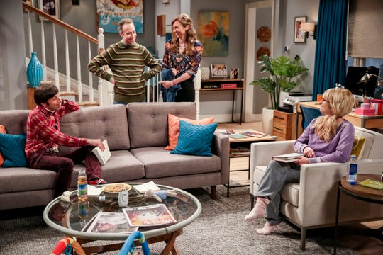 Howard (Simon Helberg), left, and Bernadette (Melissa Rauch), right, talk to Stuart (Kevin Sussman) and his girlfriend, Denise (Lauren Lapkus), on the Oct. 4 episode of CBS's 'The Big Bang Theory.'