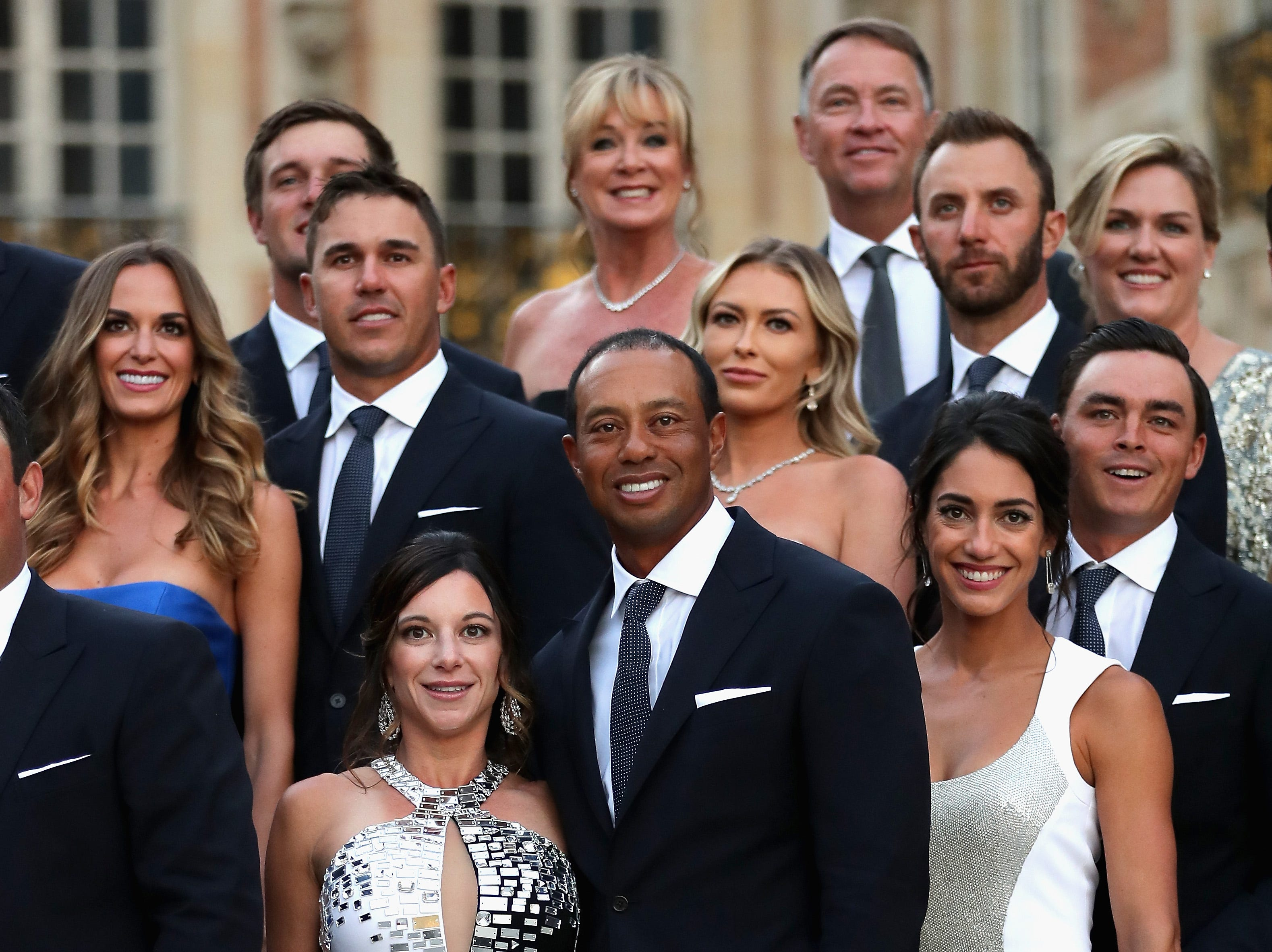 Tiger Woods poses with girlfriend Erica Herman before the Ryder Cup gala dinner at the Palace of Versailles on Sept. 26.