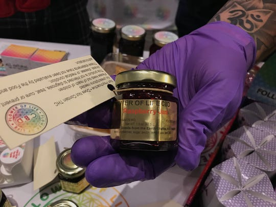 CBD has been added to food like jam (pictured, from Flower of Life), olive oil, gummies and coconut oil.