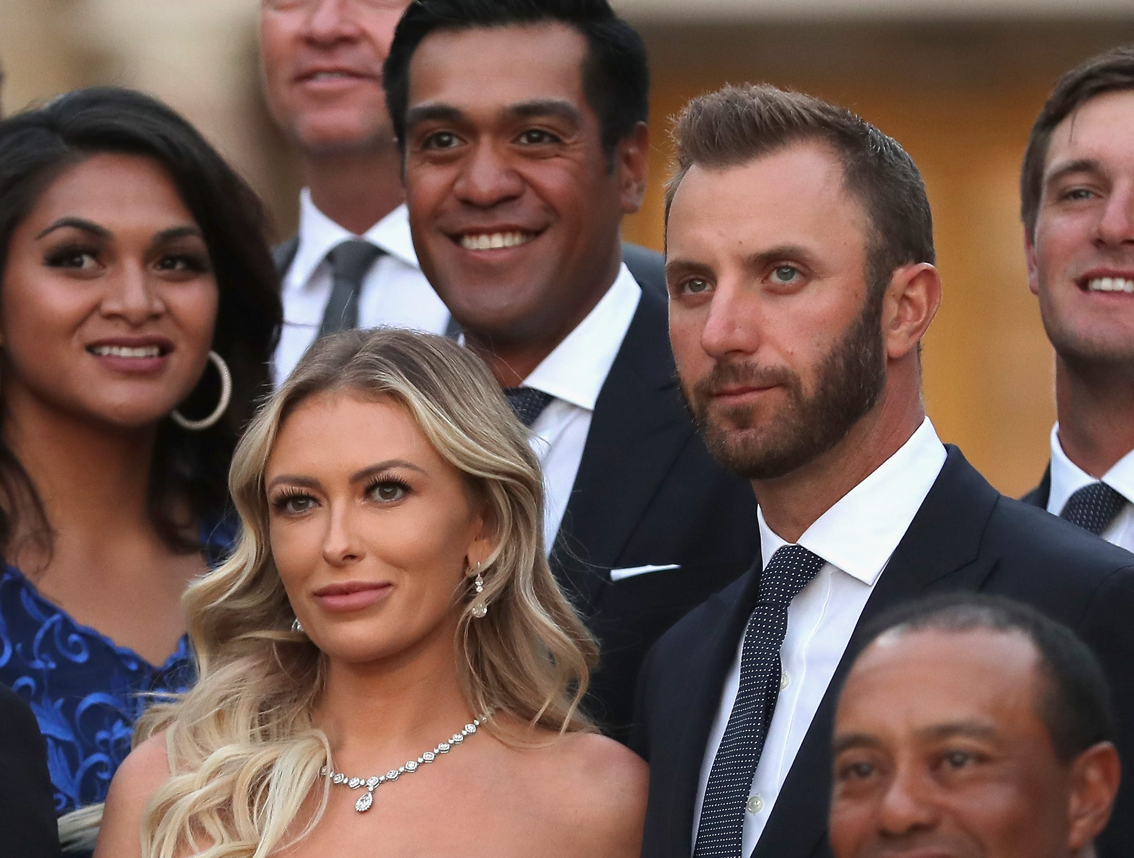 Dustin Johnson and his partner Paulina Gretzky poses before the Ryder Cup gala Sept. 26.