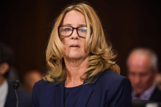 Christine Blasey Ford, the woman accusing Supreme Court nominee Brett Kavanaugh of sexually assaulting her at a party 36 years ago, testifies during his US Senate Judiciary Committee confirmation hearing on Capitol Hill in Washington, DC, Sept 27, 2018.