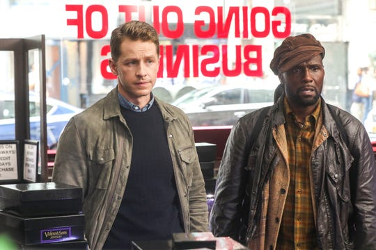 "Ben (left, Josh Dallas) and Radd (Curtiss Cook as Radd) are on a mission to help Radd's son in the second episode of ""Manifest."""