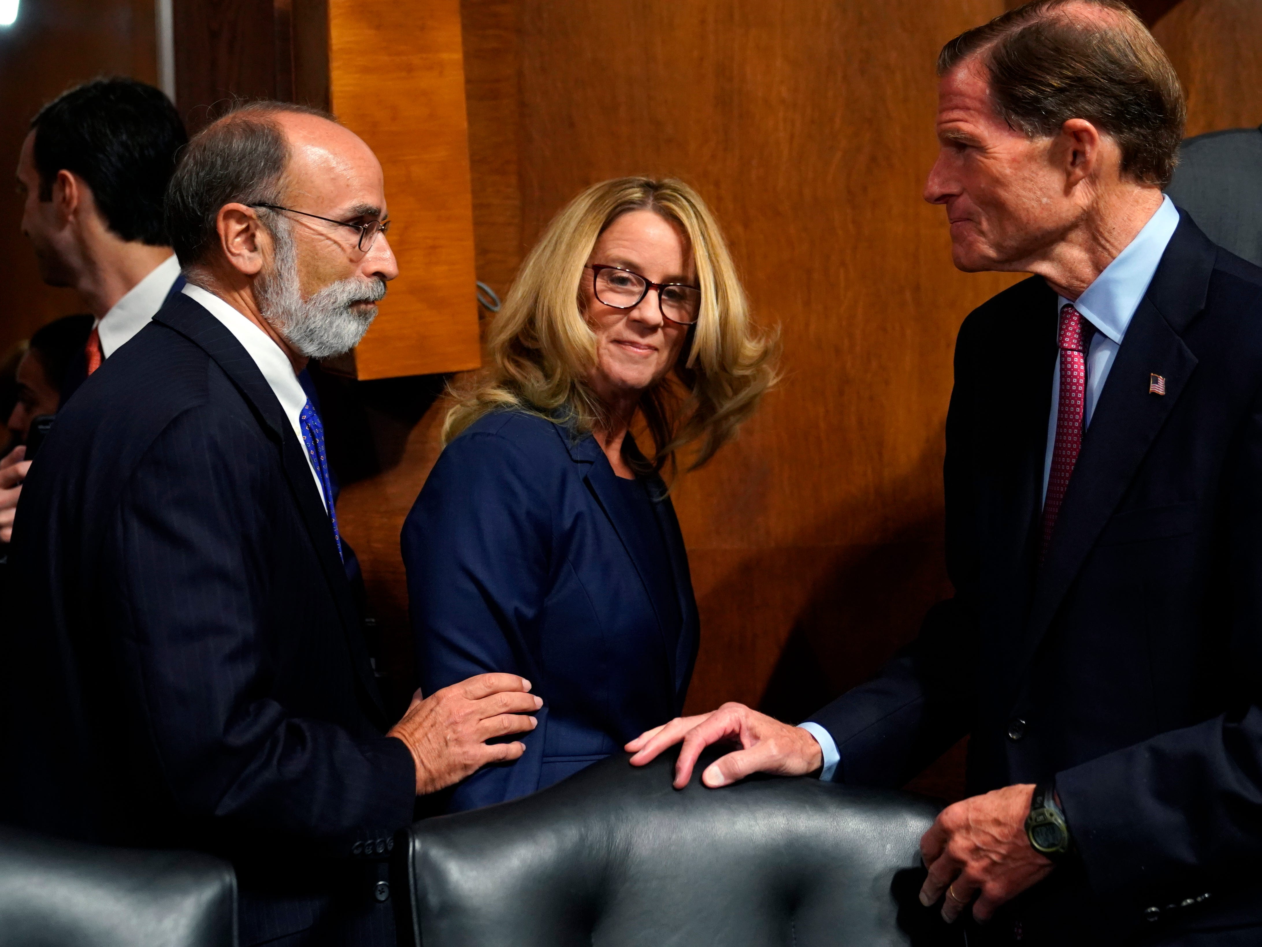 Christine Blasey Ford arrives prior to the Senate Judiciary Committee hearing.