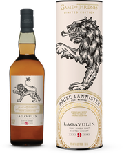 HBO is teaming with liquor giant Diageo, which owns Johnnie Walker whisky, on a special Johnnie Walker scotch and a collection of eight single malt scotches named after the families in the hit series. Among the single malts, due to be released this fall, is this House Lannister Lavagulin 9 Year Old single malt scotch, suggested retail $64.99.
