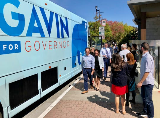 California gubernatorial candidate Gavin Newsom greets supporters at a campaign stop in Lafayette, just east of San Francisco.