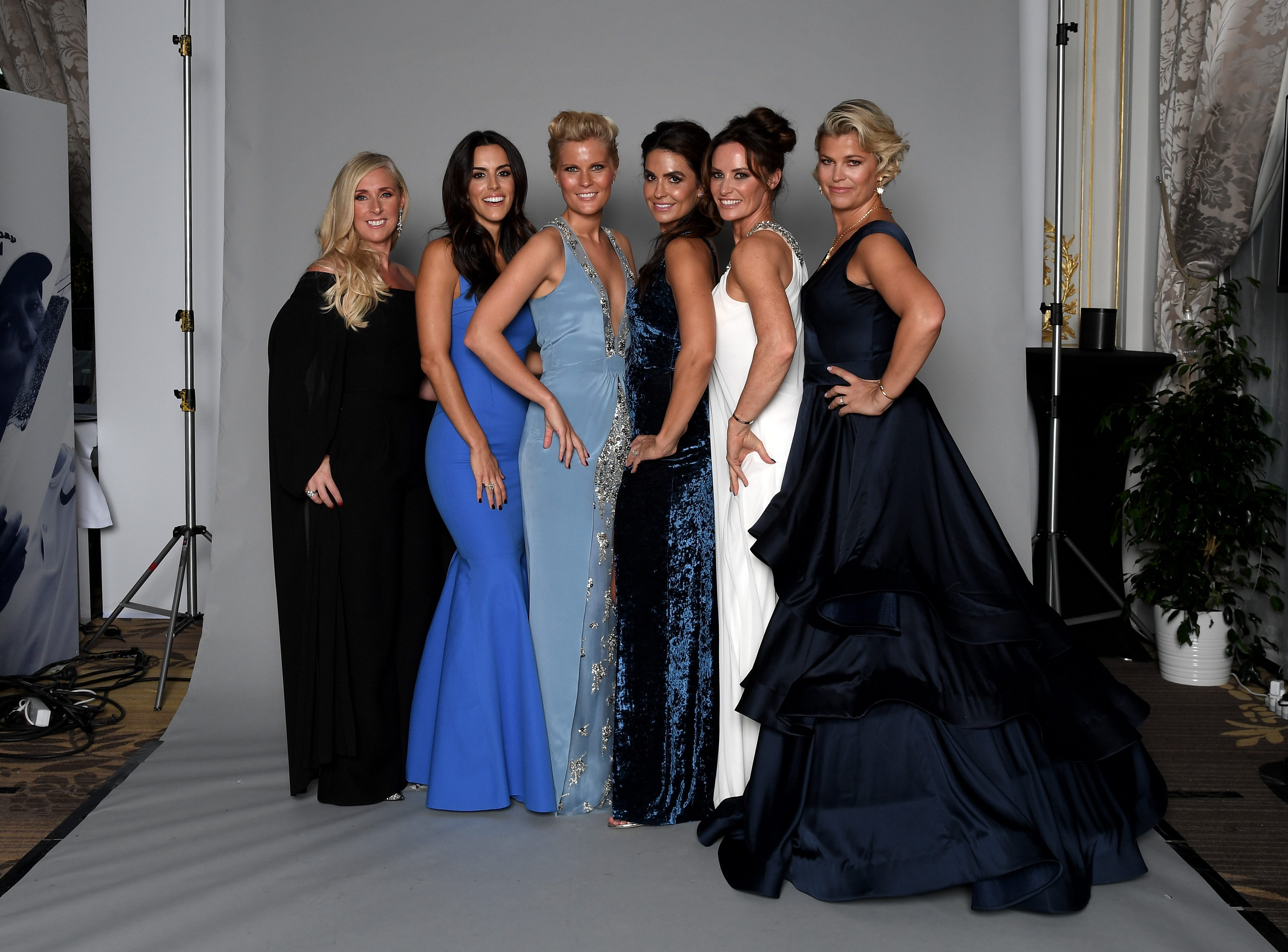 From left, Caroline Harrington, Diane Donald, Grace Barber Kristin McDowell, Helen Storey and Ebba Karlsson pose for a portrait before Ryder Cup gala on Sept. 26.