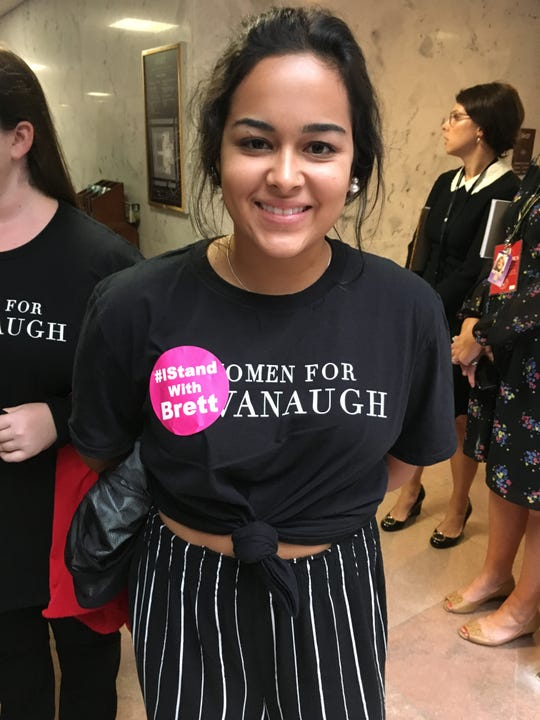 Christina Perez, a Liberty University student, was in a Senate office building to show her support for Judge Brett Kavanaugh, who faced allegations of sexual assault during a hearing on Sept. 27, 2018.