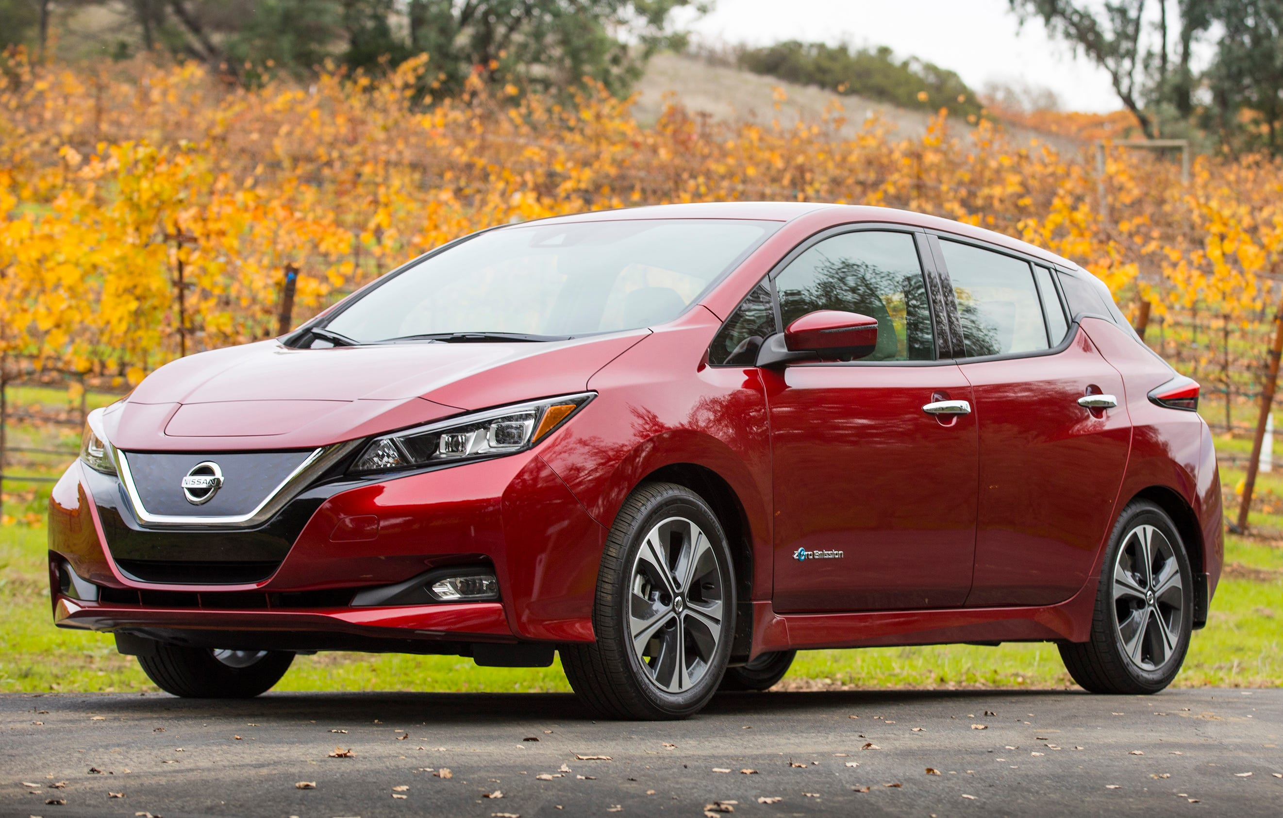 This undated photo provided by Nissan shows the 2018 Nissan Leaf. The Leaf has been on the market since 2011 and has received a full redesign for 2018. The Leaf gets 151 miles of range. (Nissan North America via AP)