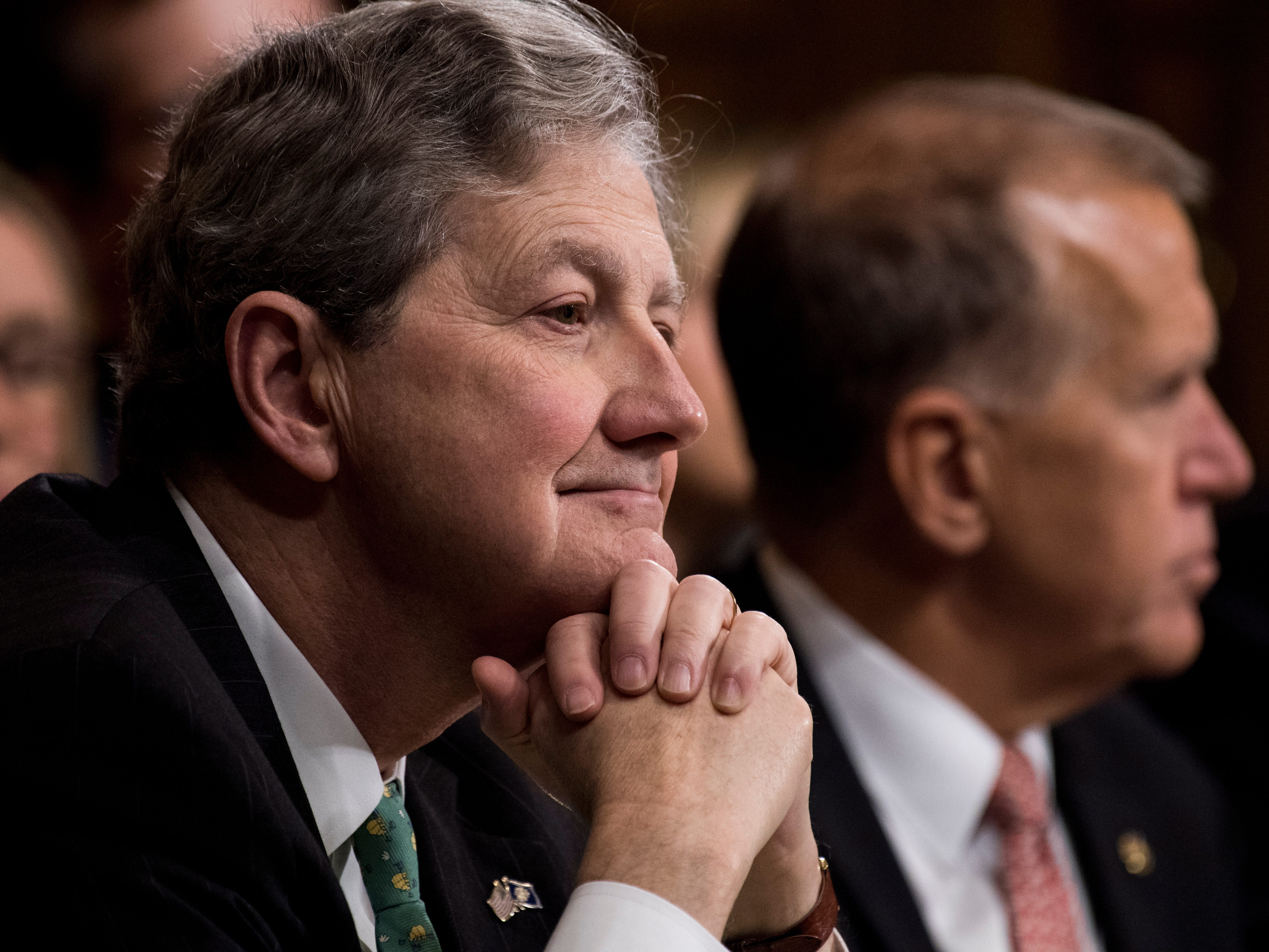 epa07051721 Senator John Kennedy (L), R-La., listens to Christine Blasey Ford, (unseen) testify during the Senate Judiciary Committee hearing on the nomination of Brett Kavanaugh to be an associate justice of the Supreme Court of the United States, on Capitol Hill in Washington, DC, USA, 27 September 2018. US President Donald J. Trump's nominee to be a US Supreme Court associate justice Brett Kavanaugh is in a tumultuous confirmation process as multiple women have accused Kavanaugh of sexual misconduct.  EPA-EFE/TOM WILLIAMS / POOL