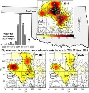 This image shows widely felt earthquakes that struck north-central Oklahoma and southern Kansas and the probability that those areas will experience potentially damaging induced earthquakes in 2018 and 2020. Man-made earthquakes in this region are caused by deep injection of wastewater from oil and gas operations.