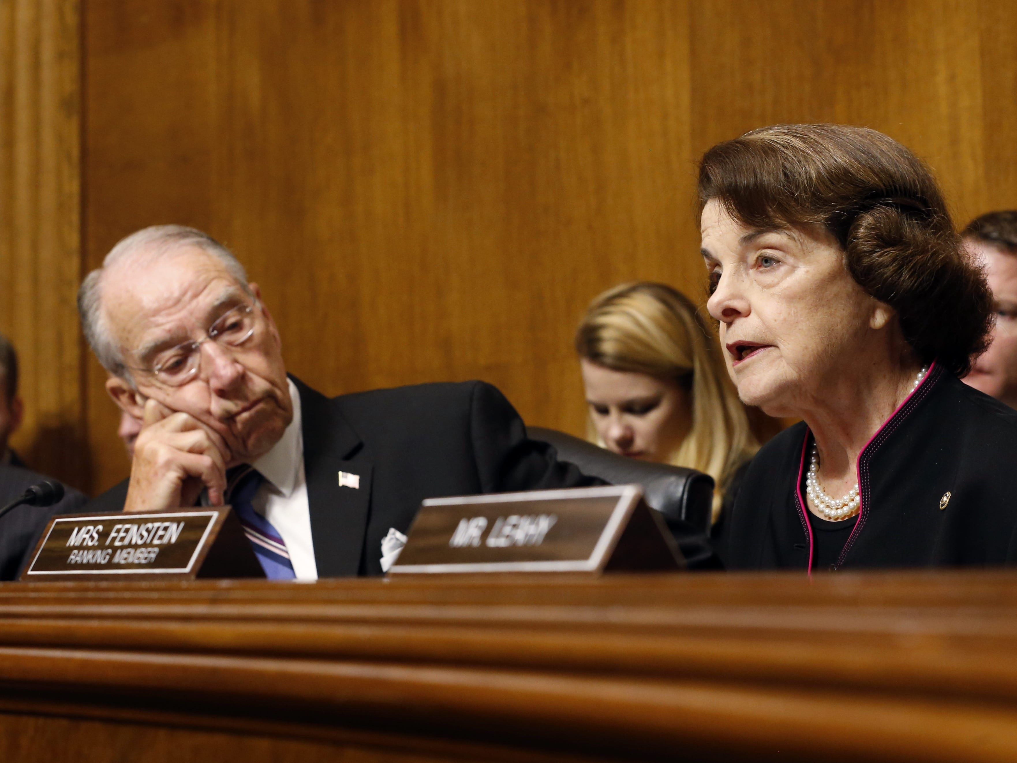 WASHINGTON, DC - SEPTEMBER 27: Senator Chuck Grassley (R-IA) listens to Senator Dianna Feinstein (D-CA) Speak at the Senate Judiciary Committee hearing on the nomination of Brett Kavanaugh to be an associate justice of the Supreme Court of the United States, on Capitol Hill September 27, 2018 in Washington, DC. A professor at Palo Alto University and a research psychologist at the Stanford University School of Medicine, Ford has accused Supreme Court nominee Judge Brett Kavanaugh of sexually assaulting her during a party in 1982 when they were high school students in suburban Maryland. (Photo By Michael Reynolds-Pool/Getty Images) ORG XMIT: 775234142 ORIG FILE ID: 1041670964