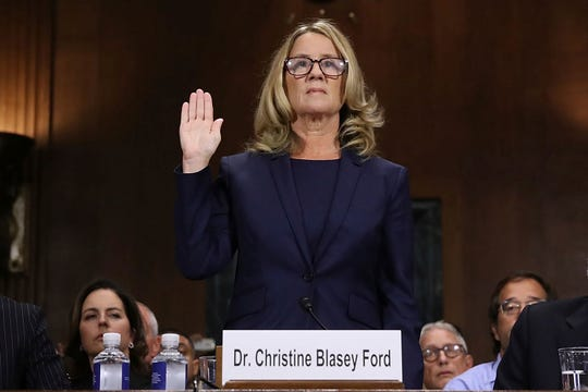 Christine Blasey Ford is sworn in before the Senate Judiciary Committee on Sept. 27, 2018.