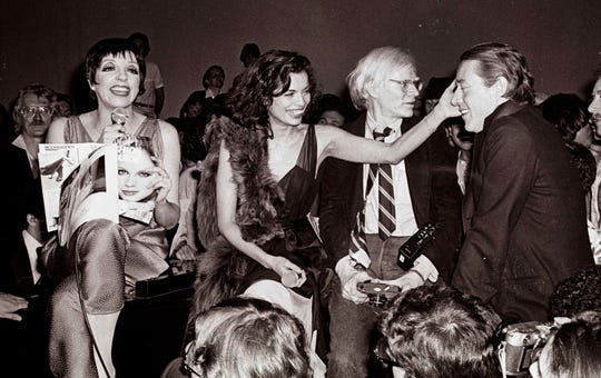 Liza Minnelli (from left), Bianca Jagger, Andy Warhol and Halston at Studio 54.