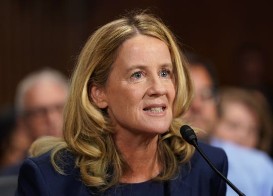 WASHINGTON, DC - SEPTEMBER 27:  Christine Blasey Ford testifies before the U.S. Senate Judiciary Committee at the Dirksen Senate Office Building on Capitol Hill September 27, 2018 in Washington, DC. Blasey Ford, a professor at Palo Alto University and a research psychologist at the Stanford University School of Medicine, has accused Supreme Court nominee Brett Kavanaugh of sexually assaulting her during a party in 1982 when they were high school students in suburban Maryland.  (Photo by Andrew Harnik-Pool/Getty Images) ORG XMIT: 775234142 ORIG FILE ID: 1041759264