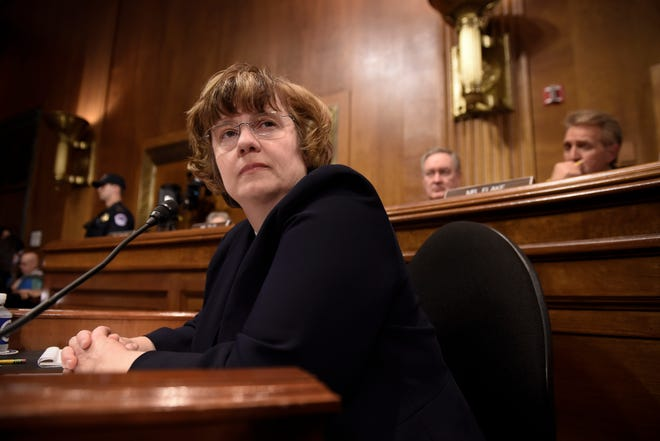 Rachel Mitchell, a prosecutor from Arizona, waits for Christine Blasey Ford, the woman accusing Supreme Court nominee Brett Kavanaugh of sexually assaulting her at a party 36 years ago, to testify before the US Senate Judiciary Committee on Capitol Hill in Washington, DC, September 27, 2018. (Photo by SAUL LOEB / POOL / AFP)SAUL LOEB/AFP/Getty Images ORIG FILE ID: AFP_19I3W6