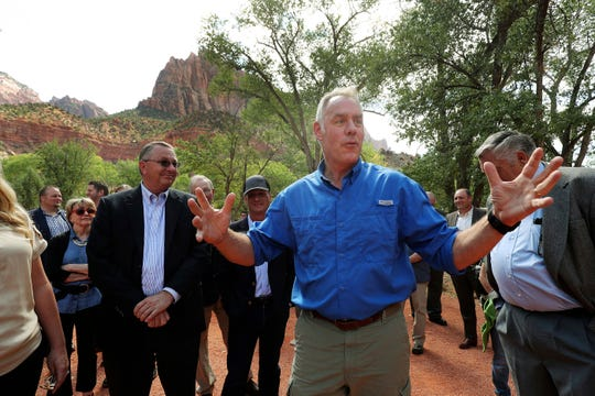 Interior Secretary Ryan Zinke speaks during a tour at Zion National Park on Monday, Sept. 24, 2018. Zinke was in southern Utah to draw attention to a maintenance backlog at national parks.